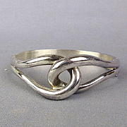 Heavy Sterling Silver Hinge Bracelet Infinity Knot