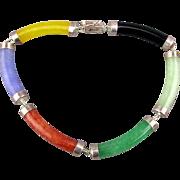 Vintage Multi-Color Jade Sterling Silver Link Bracelet