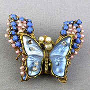 Viintage Miriam Haskell Jeweled Gilt Filigree Butterfly Pin Brooch