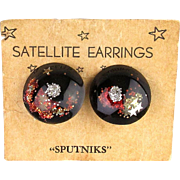 Rare 1950s SPUTNIK Satellite Earrings - Space Age Lucite Clips on Card