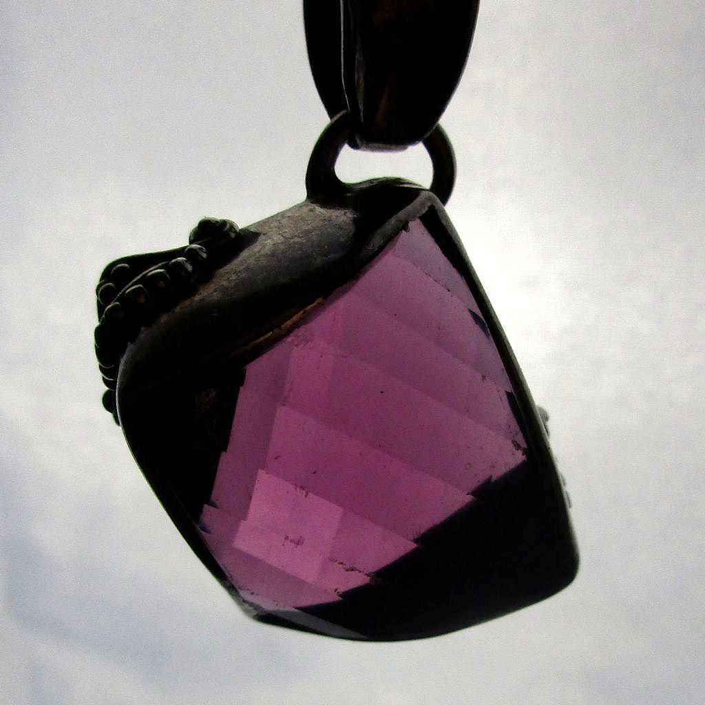 Vintage Sterling Silver Amethyst Pendant Necklace Off-Kilter Modernist