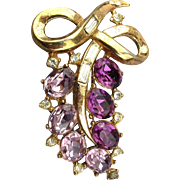 1953 Alfred Philippe Trifari Pin Brooch Hanging Rhinestone Fruit