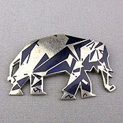 Art Deco Elephant Pin Enamel Geometric Black on Silvertone Design