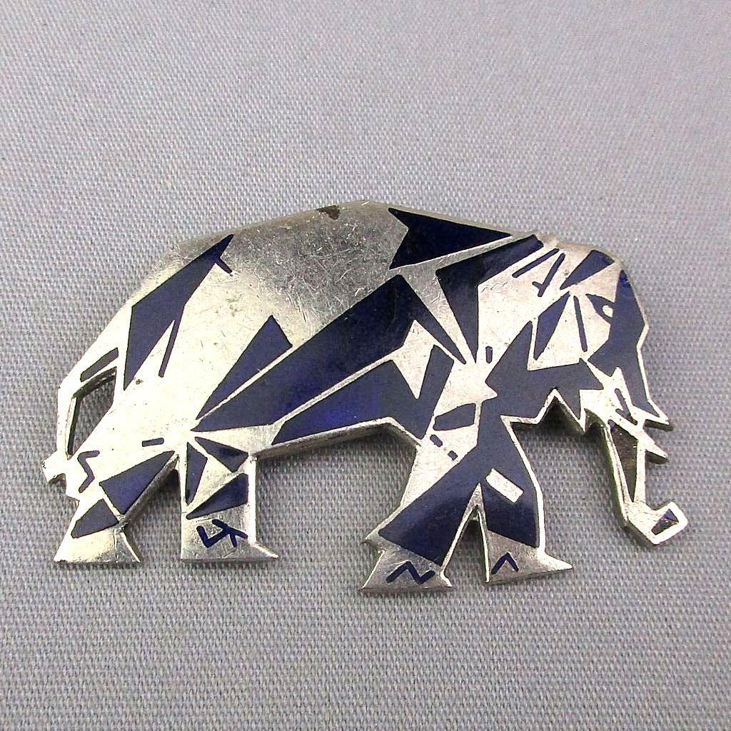 Art Deco Elephant Pin Enamel Geometric Black on Silvertone Design