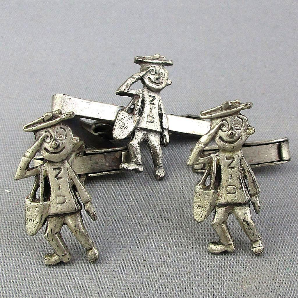 Vintage Post Office Mr. ZIP Man Cufflink Set 1960s Advertising Mailman