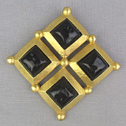 Large Gold-Tone Pin Brooch w/ Black Poured Glass Cabs
