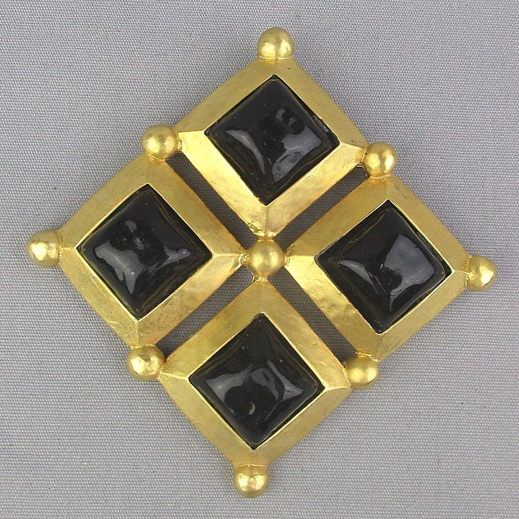 SOLD - Large Gold-Tone Pin Brooch w/ Black Poured Glass Cabs