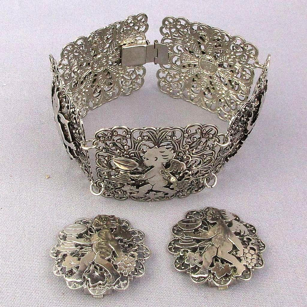 1940s U.S. Zone Germany Filigree Bracelet Earrings Set Angel Devil