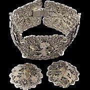 1940s U.S. Zone Germany Filigree Bracelet Earrings Set Angel Devil