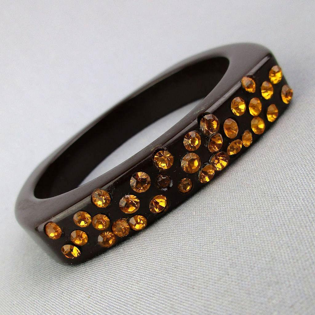 Vintage Bakelite Bangle Bracelet w/ Amber Rhinestone Top