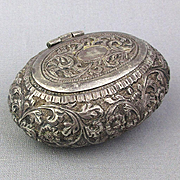 Old Handmade Silver Trinket Snuff Box Repousse All Over