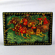 Vintage Russian Black Lacquer TROIKA Trinket Box Hand Painted Art