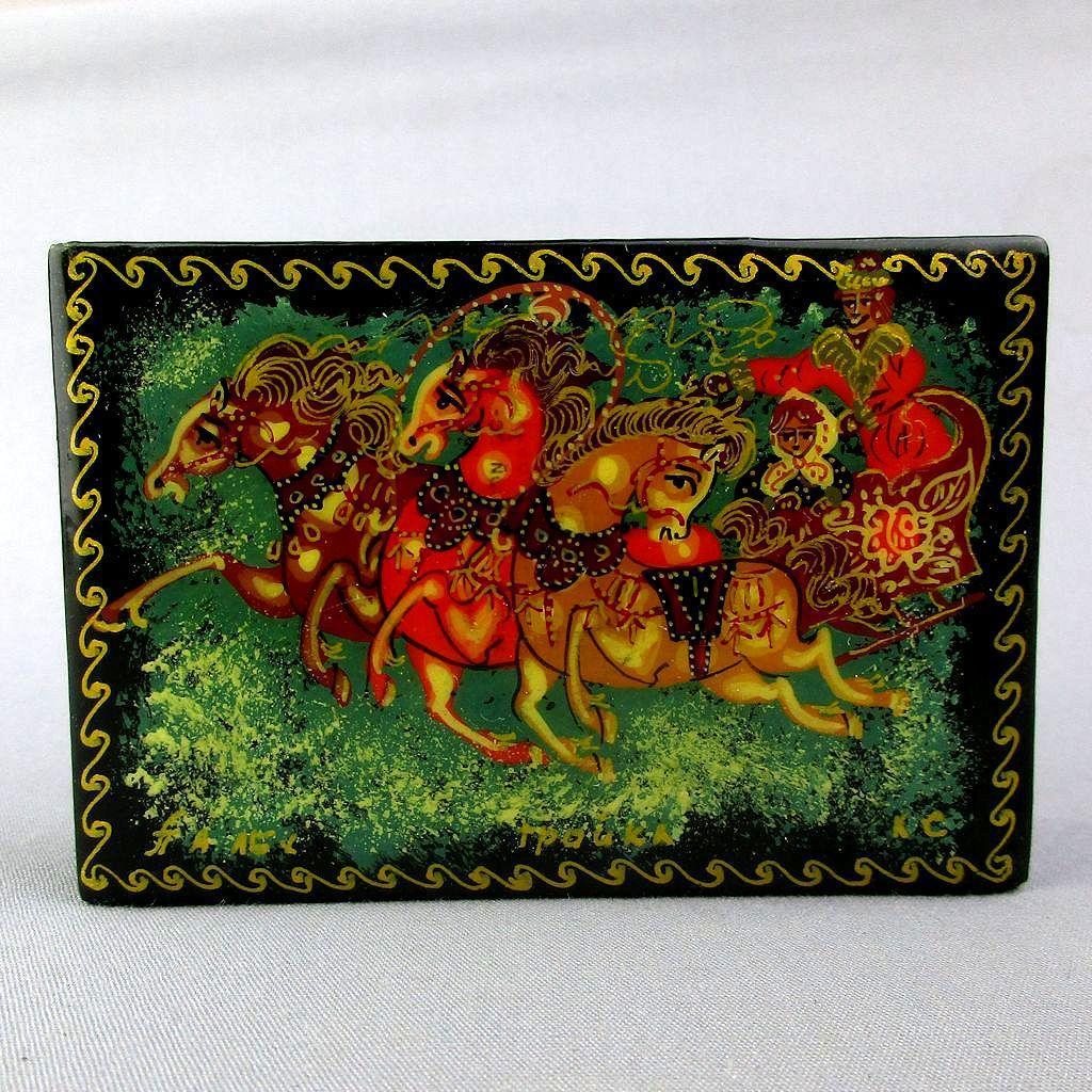 Vintage Russian Black Lacquer TROIKA Trinket Box Hand Painted Art