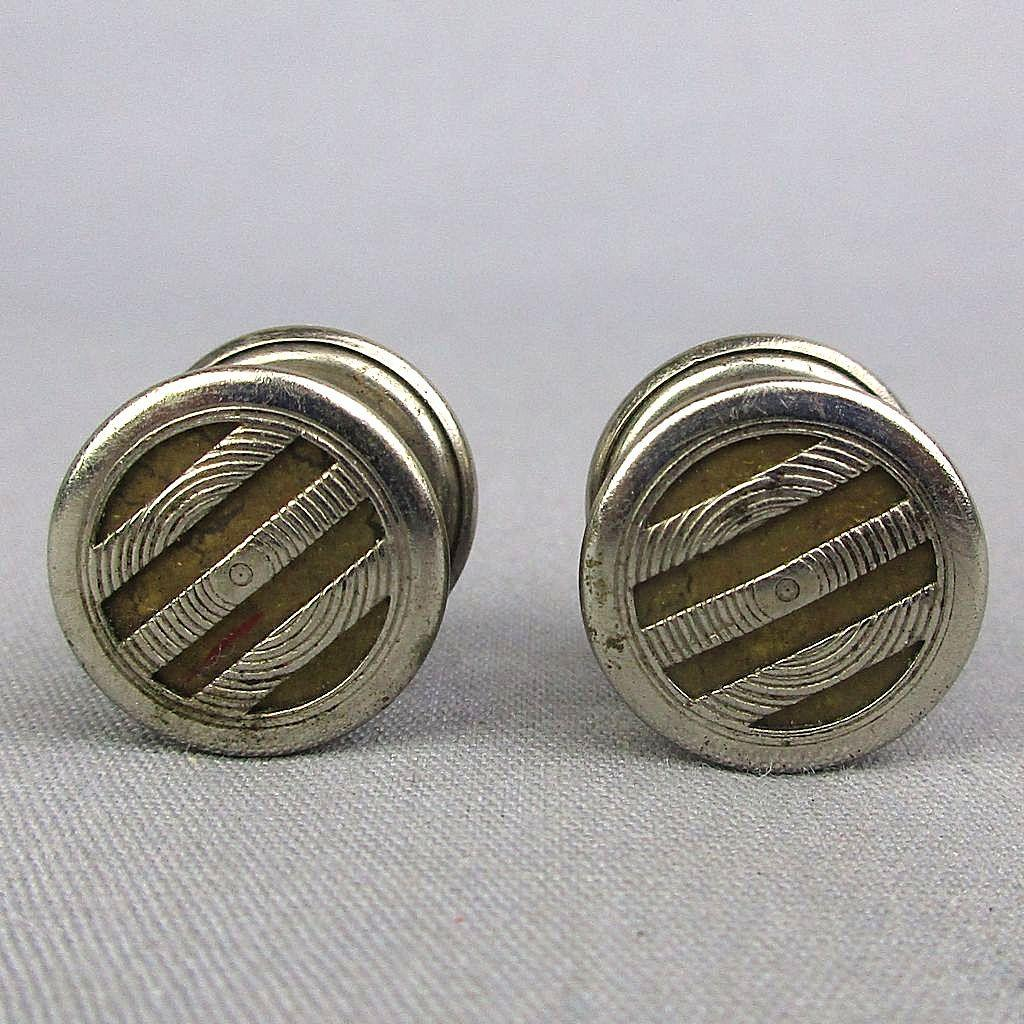 Art Deco 1920s Snap Cufflinks PILCHER'S LOK-LINK on Original Card