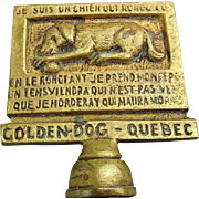Old Brass - Iron Bottle Opener ~ Golden Dog Quebec ~ Souvenir