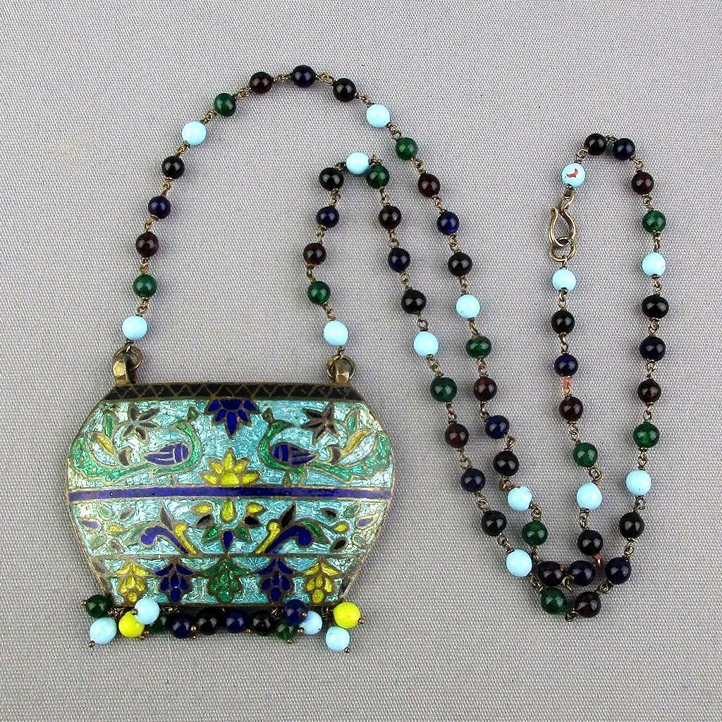 Old Chinese Enamel On Sterling Silver Vermeil Necklace