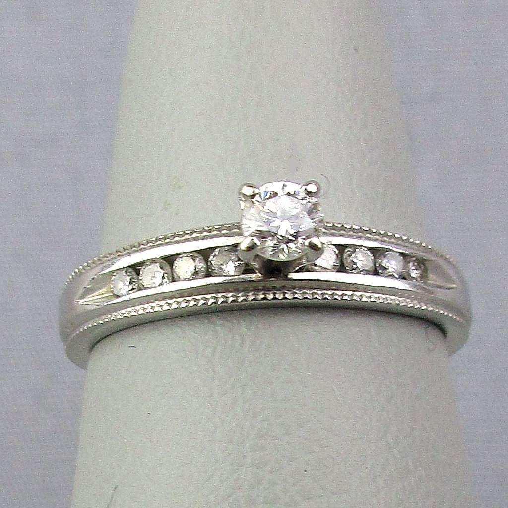 Estate 10K White Gold Diamond Ring
