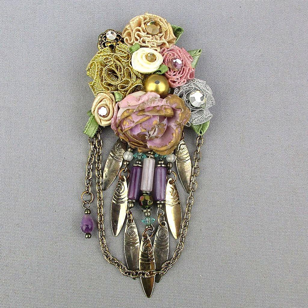 Unique Vintage Floral Bouquet Ribbon Pin w/ Rhinestones Dangles