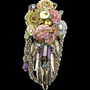 Unique Vintage Floral Bouquet Ribbon Pin w/ Rhinestones Dangles