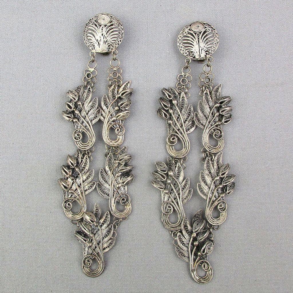 Vintage Java Sterling Silver Filigree Long Clip Earrings Signed