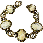 Victorian Gilded Brass Carved Shell CAMEO Link Bracelet - 5 Faces