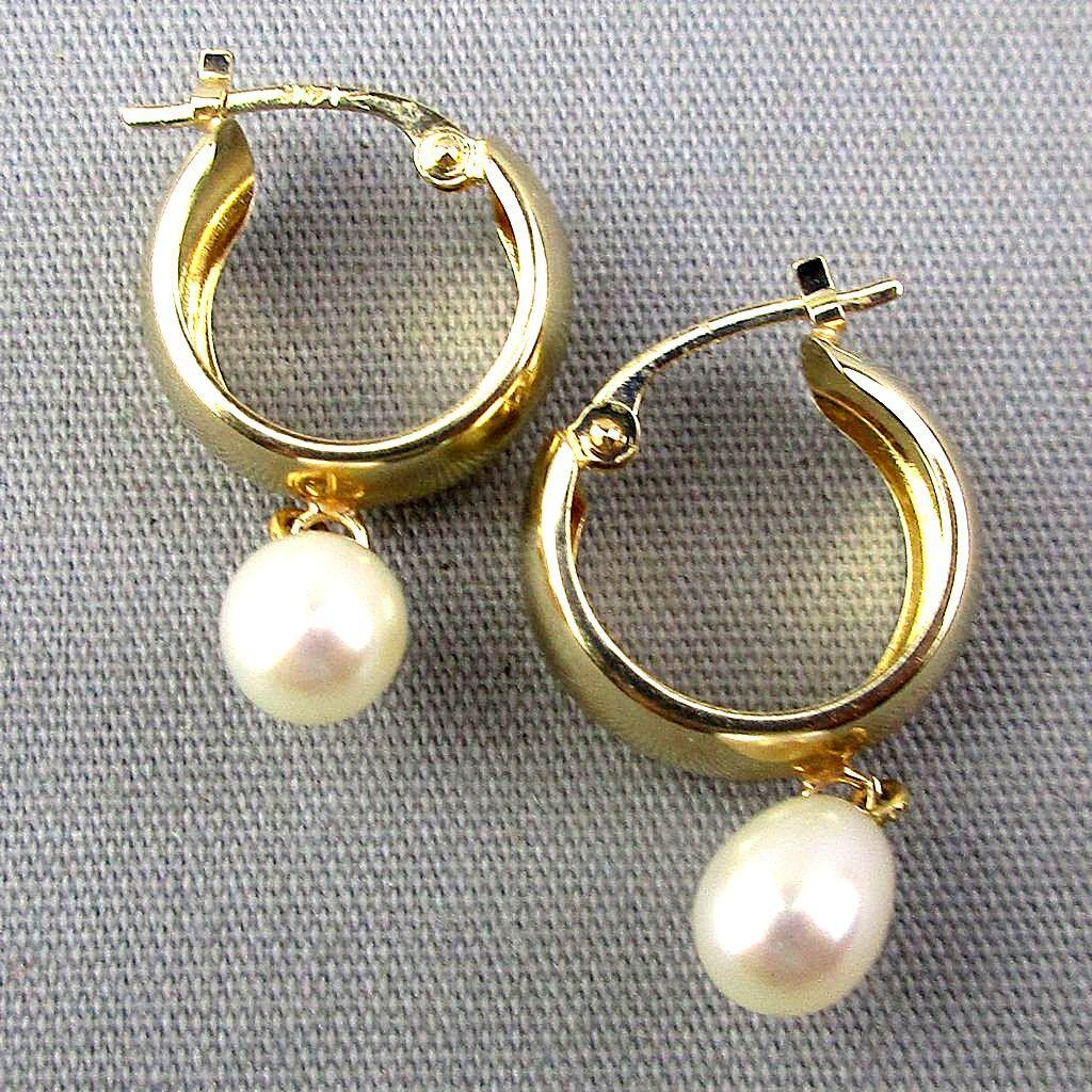 Vintage 14K Gold Hoop Cultured Pearl Drop Earrings
