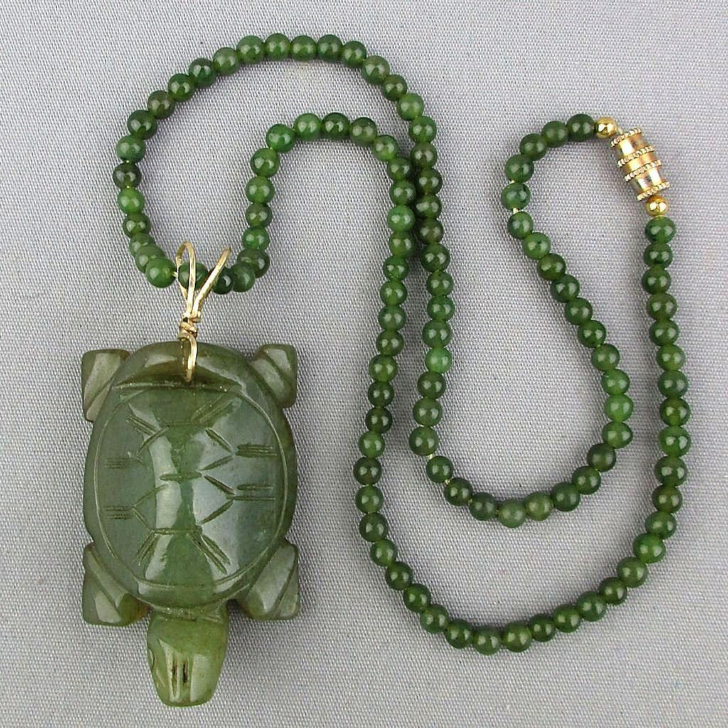 Vintage Carved Jade Turtle Pendant on Jade Bead Necklace
