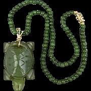 Vintage Carved Jade Turtle Pendant on Jade Bead Necklace