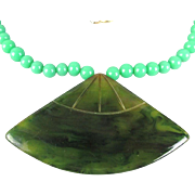 Vintage CADORO Necklace Carved Bakelite w/ Jade Glass Beads