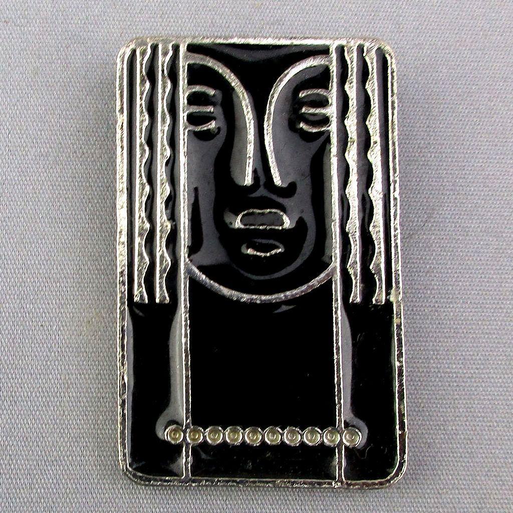 Vintage RITZ Enamel - Pewter Art Deco Style Face Pin Pendant