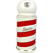 Royal Copley Barber Pole Razor Blade Bank Piggy Coin Bank w/ Label