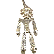 Big Taxco Sterling Silver Clown Pin Articulated Jointed Happy