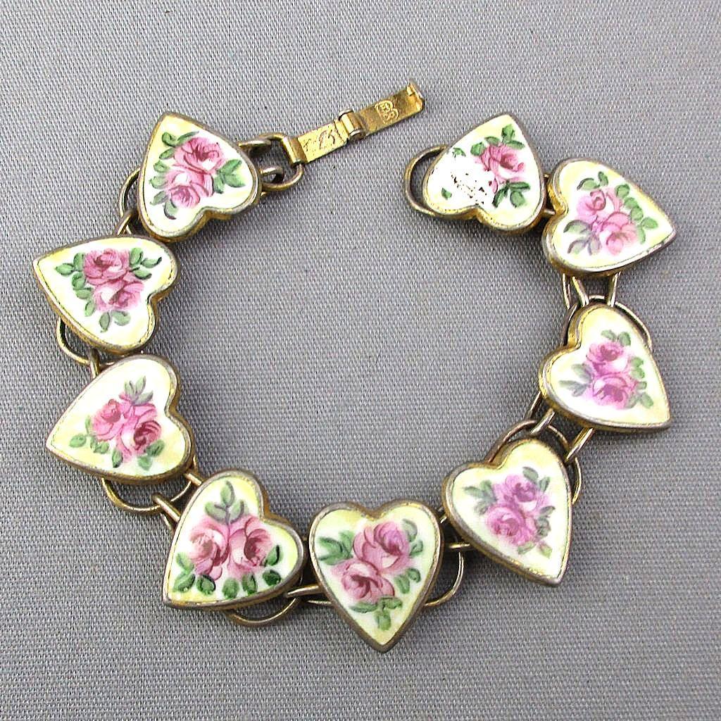 Sterling Silver Vermeil Enamel HEARTS Link Bracelet