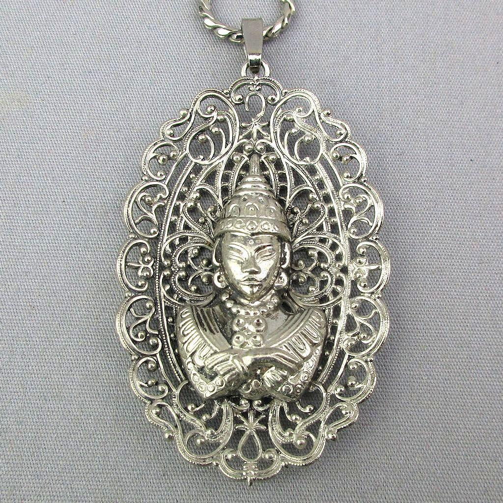 1940s Vintage Filigree Pendant Siam Princess - U.S. Zone Germany Necklace