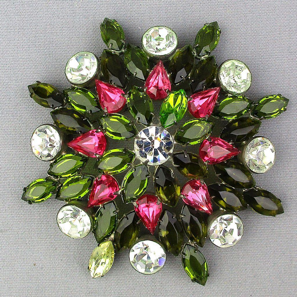 Big Vintage Crystal Rhinestone Pin Brooch - Mega Watt Sparkle