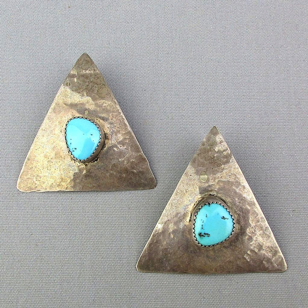 Vintage Sterling Silver Turquoise Triangle Earrings Pierced