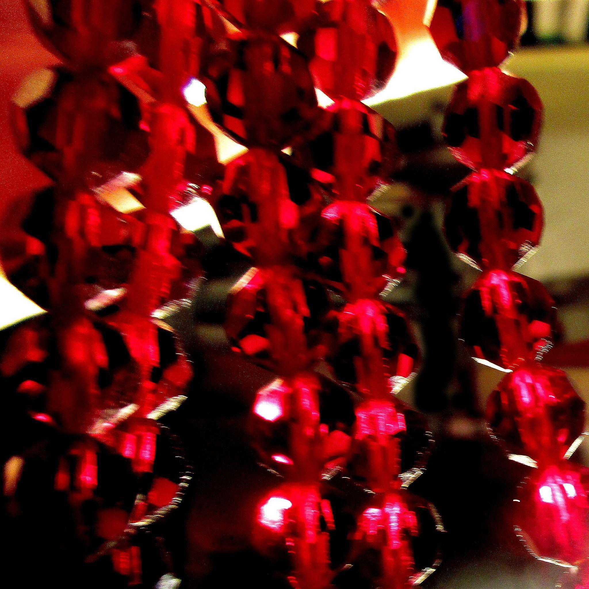 Vintage Long 50 Inch Dark Red Crystal Necklace Rope Faceted Beads