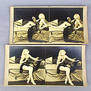 2 Old c1910 Risque Naughty Pin-Up Girl Stereoview Cards / Mutoscope Peep Show Photos