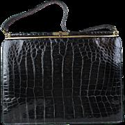 Vintage Sterling Black Alligator Kelly Handbag Purse