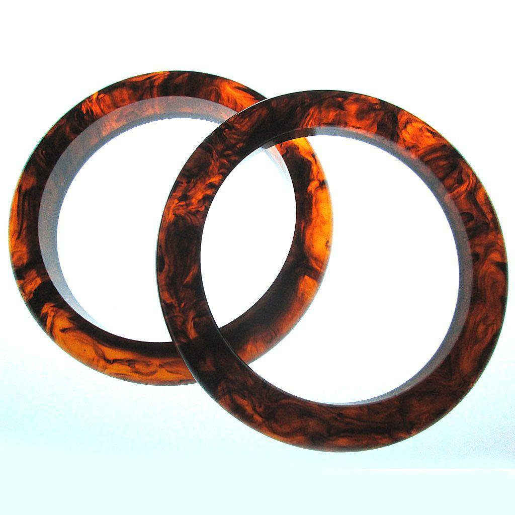 Pair Vintage Bakelite Bangle Bracelets Root Beer Swirl