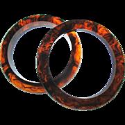 Pair Vintage Bakelite Bangle Bracelets Root Beer Swirl