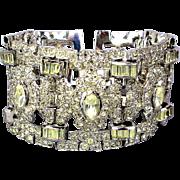 Art Deco Era LEDO Polcini Crystal Rhinestone Bracelet Wide