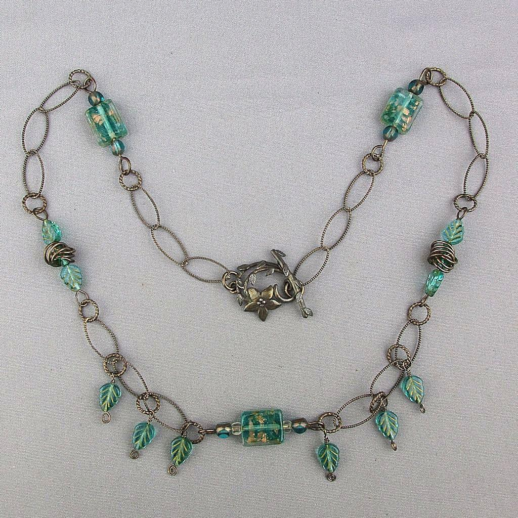 Sterling Silver Venetian Glass Chain Necklace w/ Floral Clasp