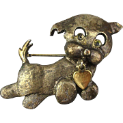 Vintage WELLS Gilded Sterling Silver Dog Pin w/ Heart Charm
