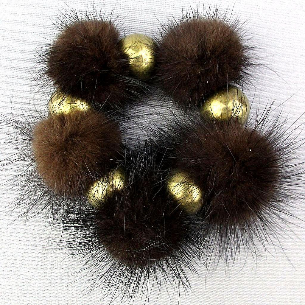 Vintage 1950s Mink Fur - Faux Gold Stretch Bracelet