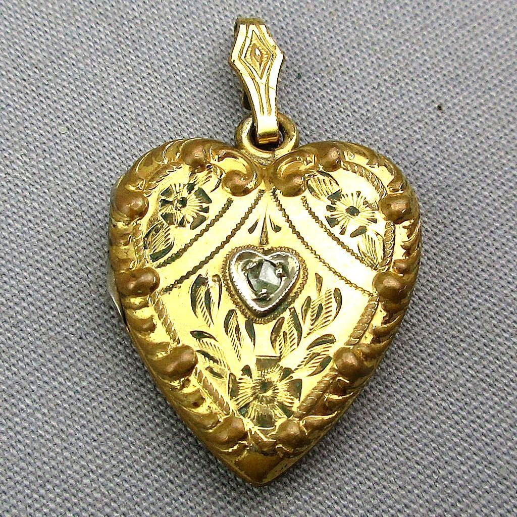 Victorian Gold-Filled Etched Heart Locket w/ Diamond Heart