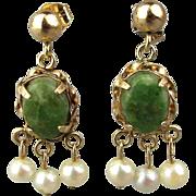 Estate 14K Gold Jade Pearl Earrings Dainty Dangles