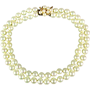 Estate Faux Pearl Necklace - Two Strands - Sterling Clasp - 8mm Pearls