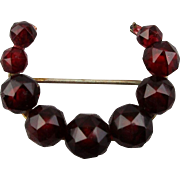 Victorian Gold-Filled Horseshoe Pin Faceted Garnets