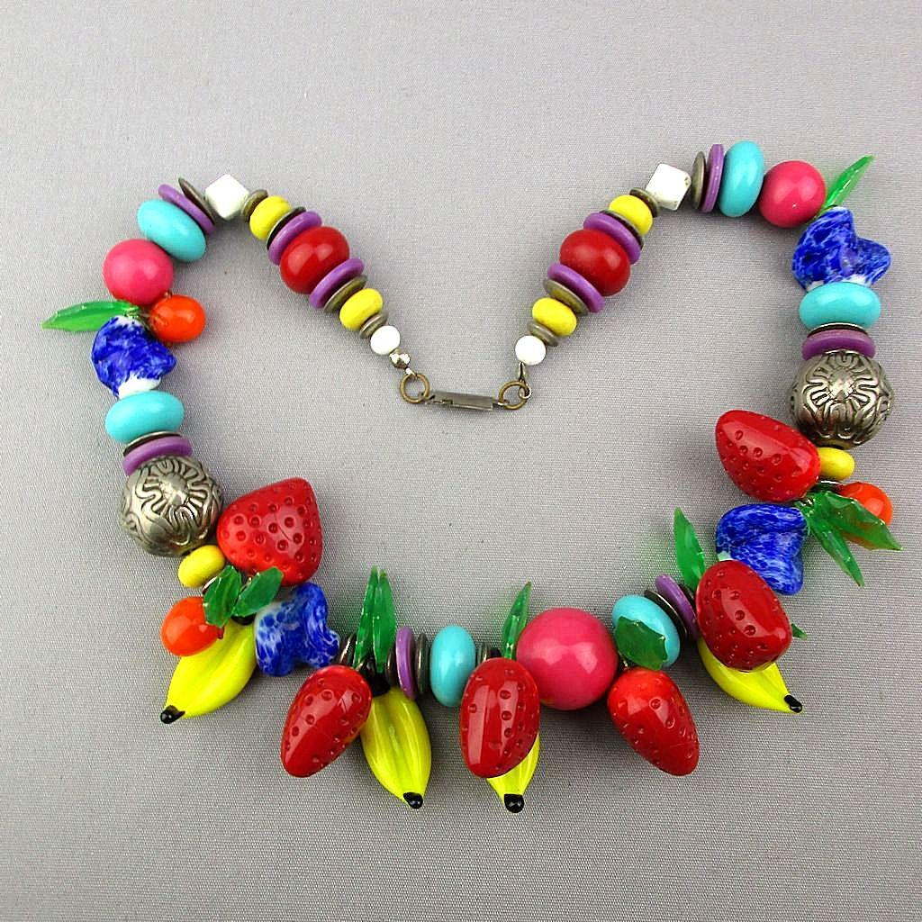 Vintage Glass Fruit w/ Beads Necklace Bananas Strawberries
